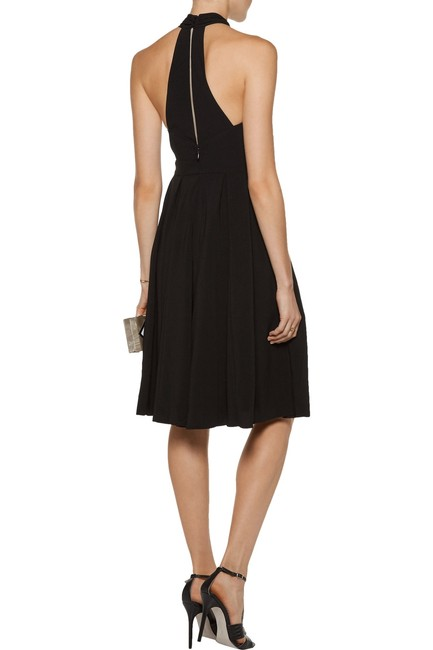 Halston Crepe Halter Cut-out Keyhole Pleated Dress Image 1