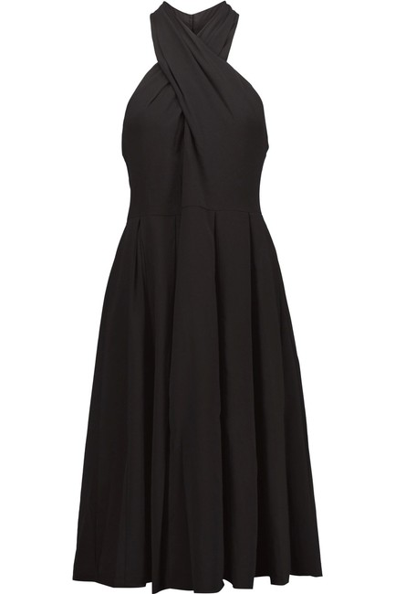 Halston Crepe Halter Cut-out Keyhole Pleated Dress Image 2