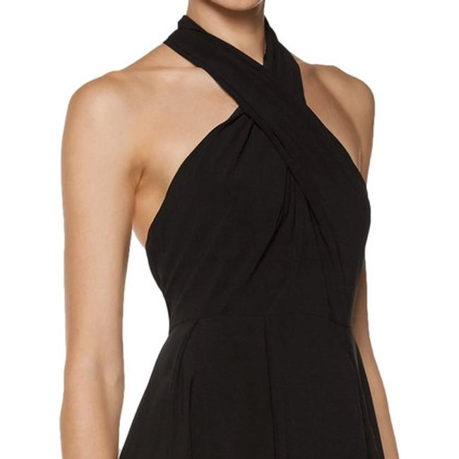 Halston Crepe Halter Cut-out Keyhole Pleated Dress Image 3