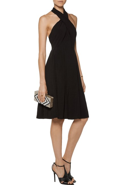 Halston Crepe Halter Cut-out Keyhole Pleated Dress Image 7