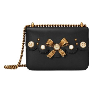 Gucci Bow Pearl Chain Gold Bow Gg Pearl Shoulder Bag