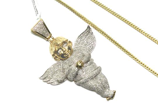 Other 14 kt. Yellow Gold Franco Chain with Diamond Angel Pendant Image 2