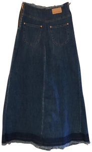 See by Chloé Italy Maxi Skirt Blue Stone Wash Cotton Denim