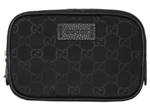 Gucci New Gucci Men's 510341 Black Nylon GG Guccissima Small Toiletry Bag
