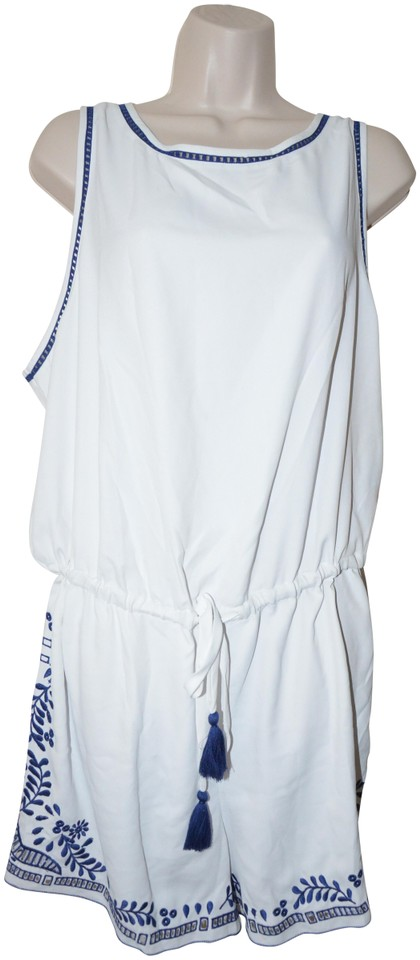 6a14d04edec Ann Taylor LOFT White XL Vineyard Embroidered Drawstring New Romper ...