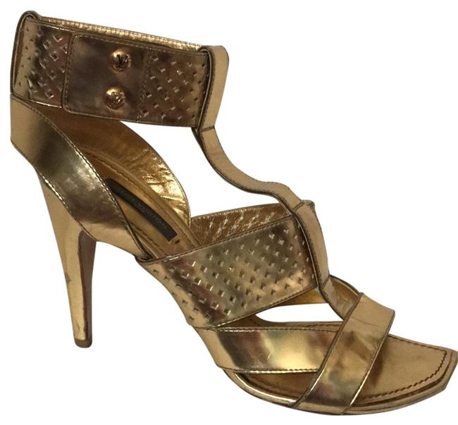 Item - Gold Night Out Heels Formal Shoes Size EU 37.5 (Approx. US 7.5) Regular (M, B)