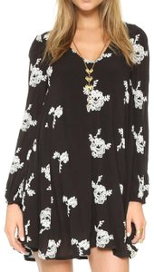 Free People short dress Black Longsleeve Tunic Floral Embroidered on Tradesy