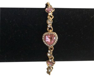 Fashion Jewelry For Everyone Gold tone Crystal and Pink Gem Bracelet