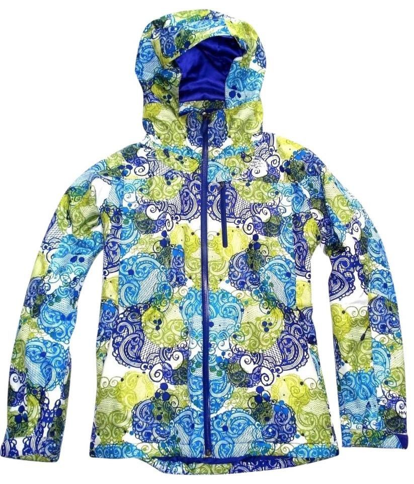 fe4114eb52 The North Face Blue Green Summit Series Paisley Hooded Winter Jacket M Coat