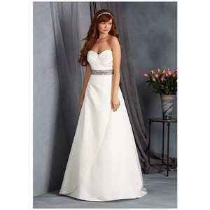 Alfred Angelo White Satin Gown 2553 Traditional Wedding Dress Size 6 (S)