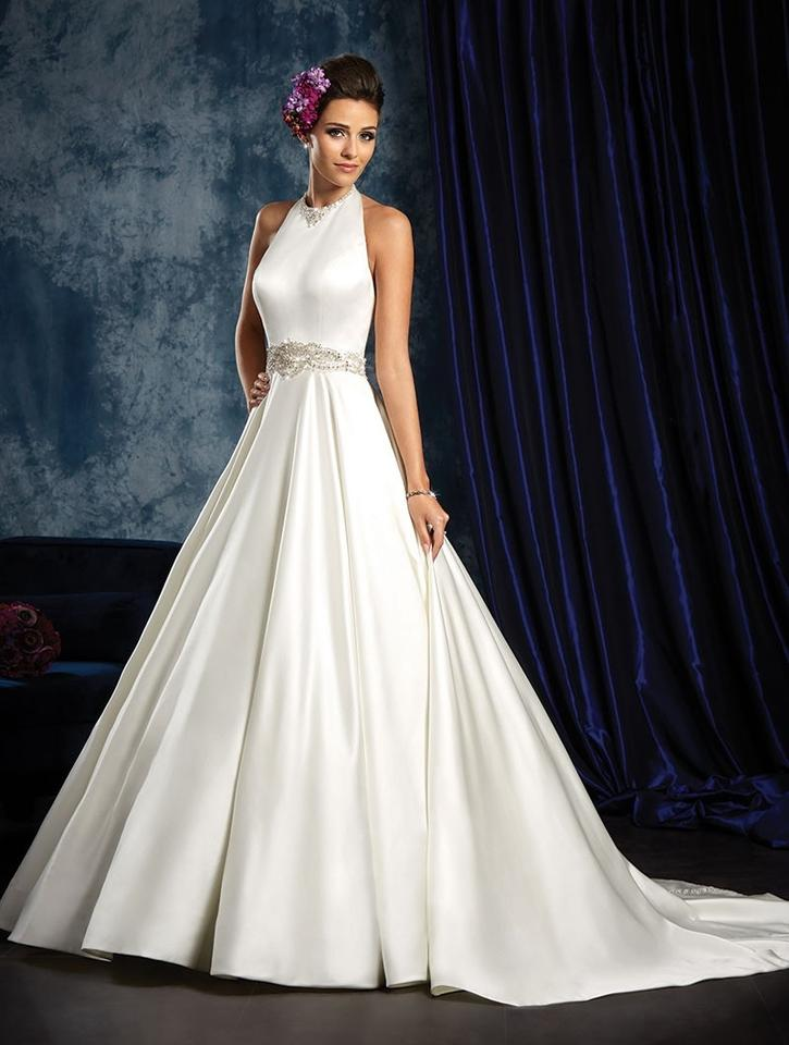 Alfred Angelo Ivory Silky Satin Halter Audrey Hepburn Gown 963 Retro Wedding Dress Size 6