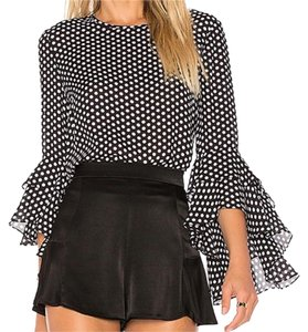MILLY Nieman Marcus Silk Trendy Ruffle Casual Top Black with White Polka Dots.