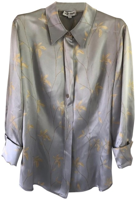 Item - Silver Printed Silk Charmeuse Blouse Size 8 (M)
