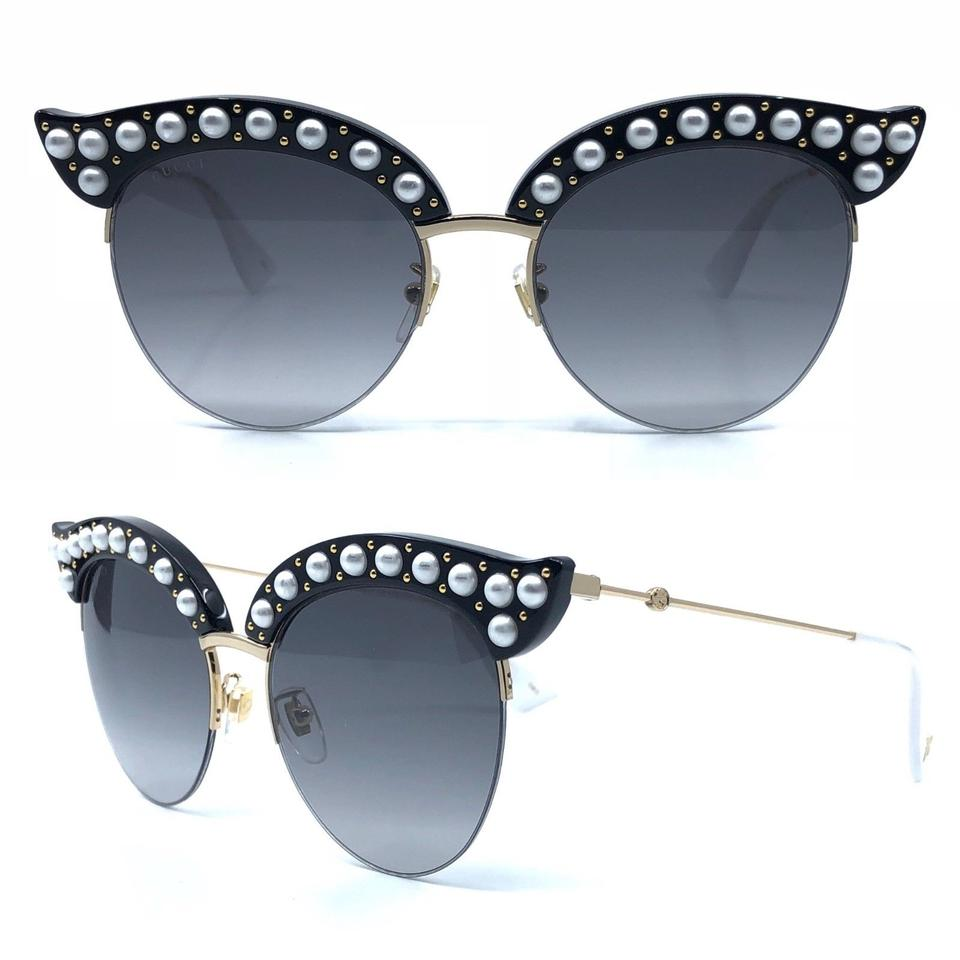 e1cb87d9cbfa3 Gucci Black Gg0212s 001 Faux Pearl Cat Eye Sunglasses - Tradesy