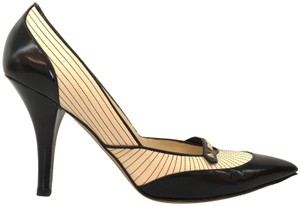 Louis Vuitton Striped Color-blocking Pointed Toe Black/ White Pumps