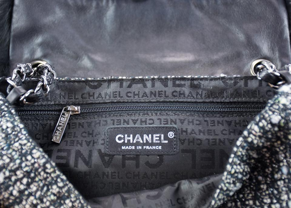 1ed63fd37962 Chanel Classic Black Grey Flap Multicolor Tweed Fur and Lizard Cross ...