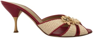Valentino Straw Woven Floral Red Mules