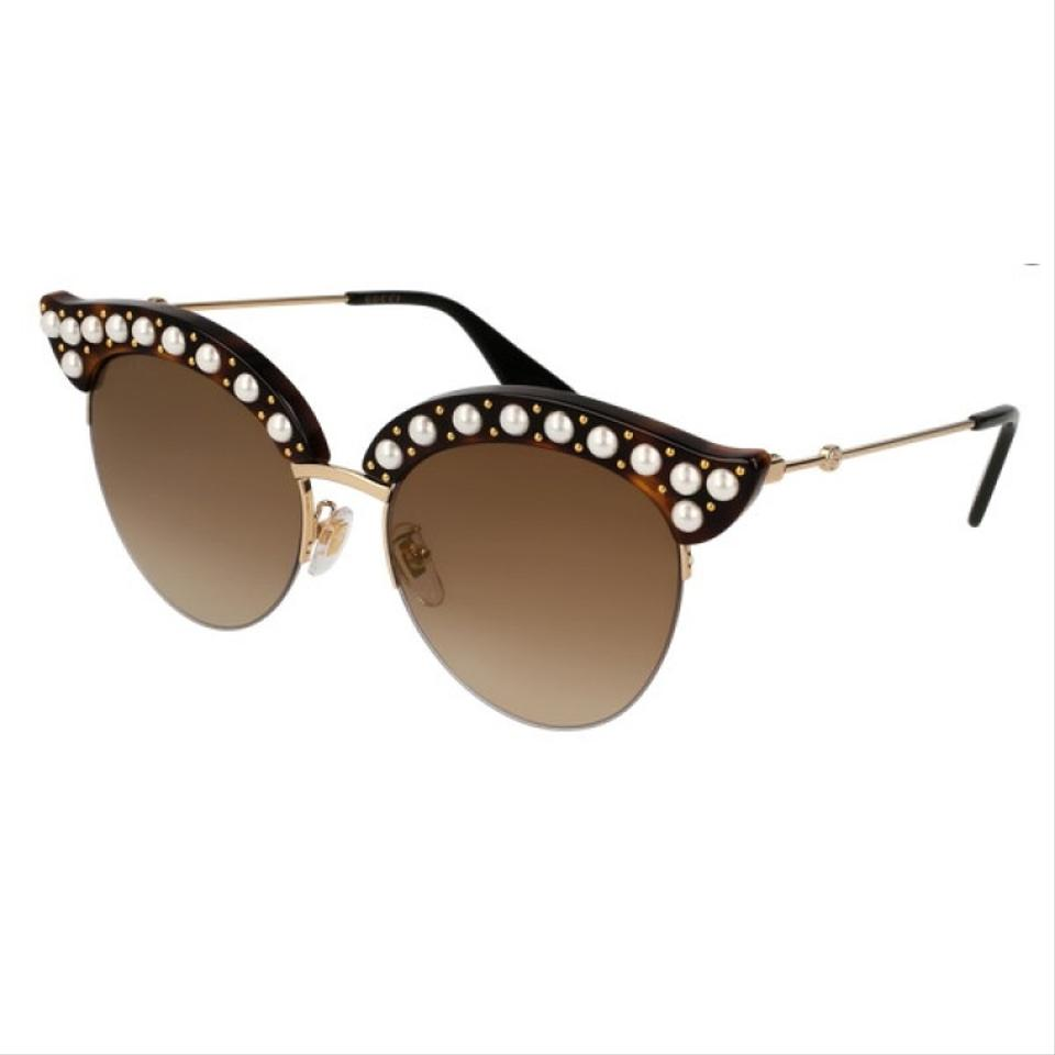 d9c347a717 Gucci Gold Havana Gg0212s 002 Faux Pearl Cat Eye Sunglasses - Tradesy
