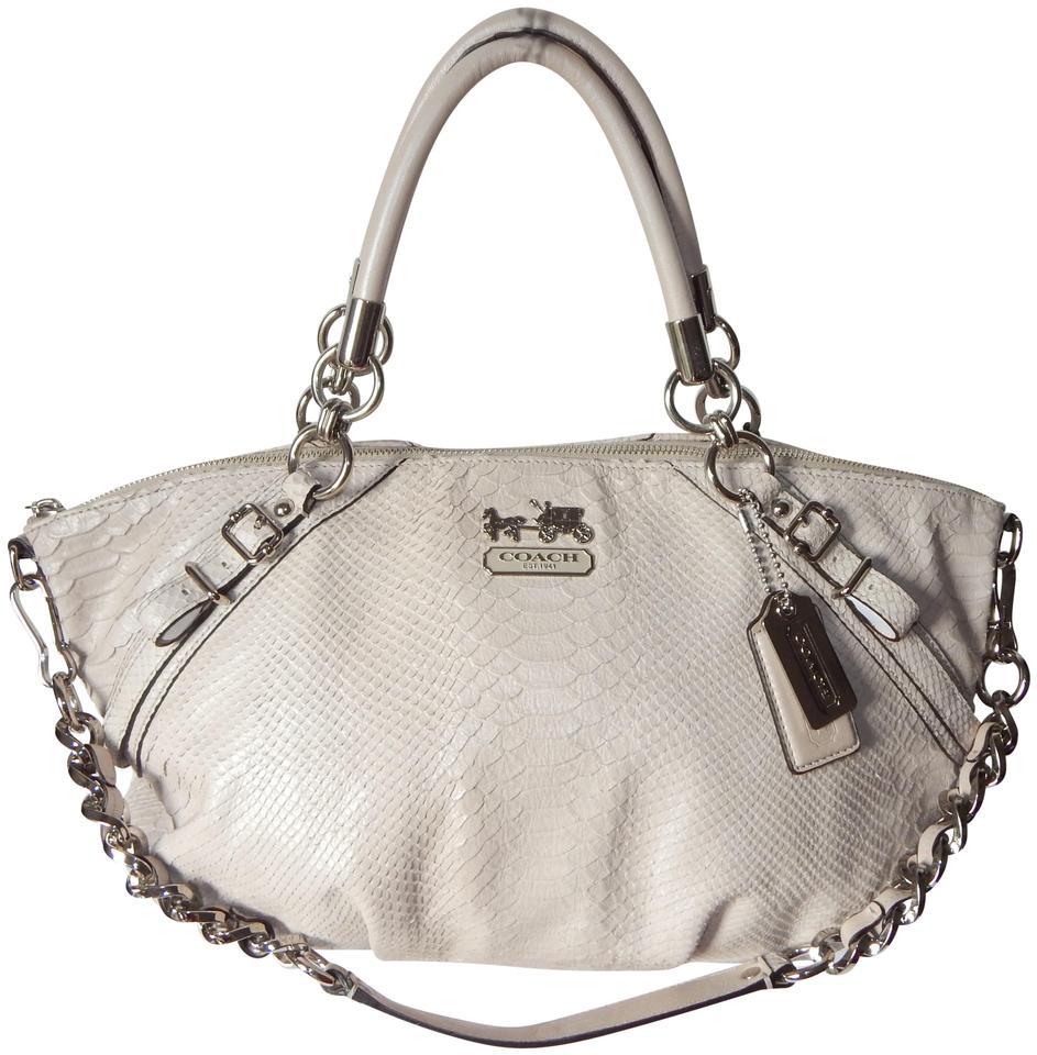 a7f34d6f67 Coach Sophia 16346 Madison Embossed Python Tan Leather Satch Cream ...