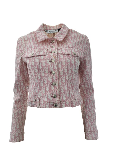 Item - White and Pink Oblique Cropped Jacket Size 4 (S)
