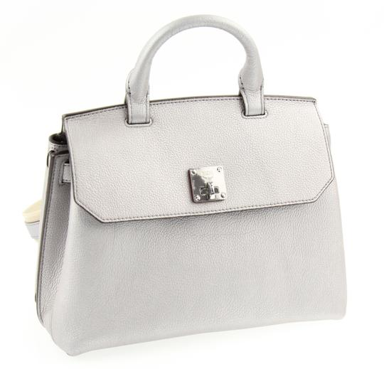 MCM Backpack Convertible Milla Leather Satchel in Silver Image 1