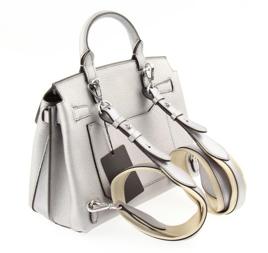MCM Backpack Convertible Milla Leather Satchel in Silver Image 3