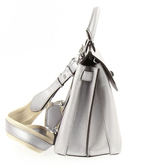 MCM Backpack Convertible Milla Leather Satchel in Silver Image 4