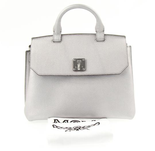 MCM Backpack Convertible Milla Leather Satchel in Silver Image 8
