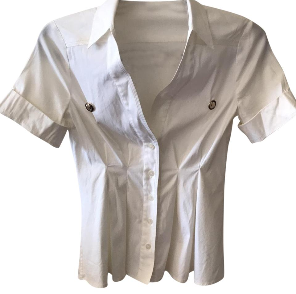 cc5e4659 Gucci White Short Sleeve Pleated Blouse Button-down Top Size 4 (S ...
