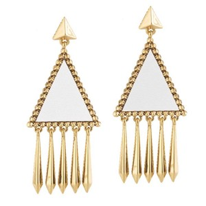 House of Harlow 1960 White Leather Del Sol Fringe Earrings