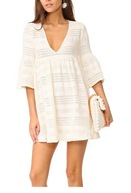Item - Cream Mini Dress Woven Cover-up/Sarong Size 4 (S)