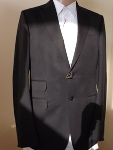 Gucci Black L Wool Stretch Two Button Suit Eur 48 / Us 38 #221536 Italy Tuxedo