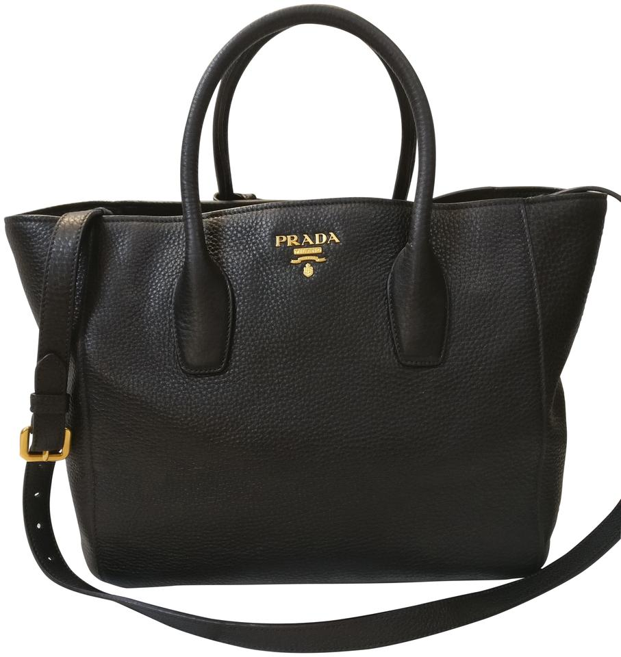 Prada Bn2694 Vitello Daino Satchel Cross Body Black Leather Tote ... 140f0d6fde5ac