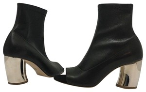Proenza Schouler Ankle Open Toe Heels Size 7 Black Leather Boots