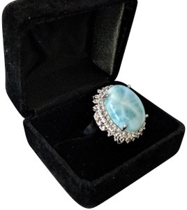 rooterville Larimar and White Topaz Ring