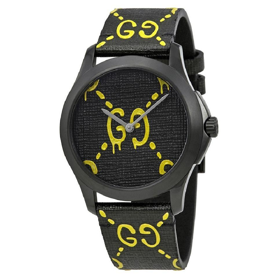 0e34939f49c Gucci G-timeless Ghost Yellow Black Dial Men s Rubber Watch Image 0 ...