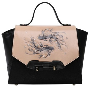 Bellorita Hand Tooled Hand Painted Top Handle Leather Tote in Black