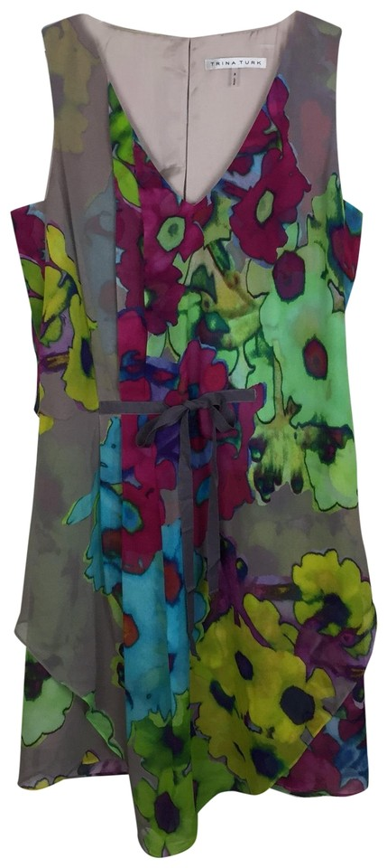 8c499463999 Trina Turk Taupe  Pink Watercolor Floral Cocktail Dress Size 8 (M ...