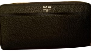 Fossil Fossil RFID Tiegan Leather Clutch Wallet W/box Black