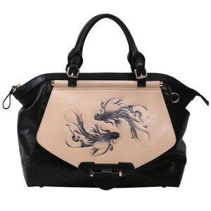 Bellorita Hand Tooled Hand Painted Leather Top Handle Tote in Black