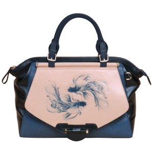 Bellorita Hand Tooled Hand Painted Leather Top Handle Tote in Blue