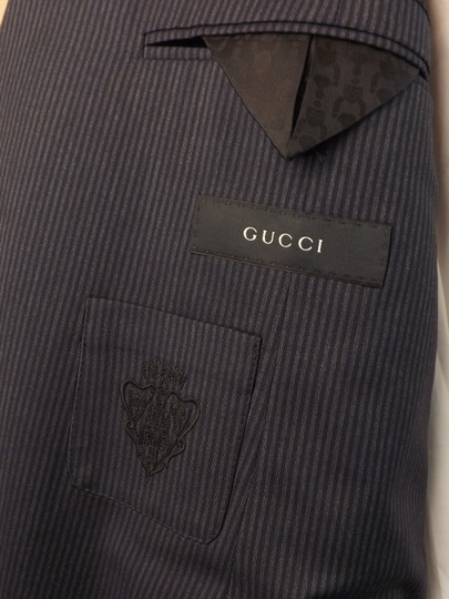 Gucci Black / Gray Wool Classic Stripe Two Button Suit Eur 58 R/ Us 48 #353238 Tuxedo Image 4