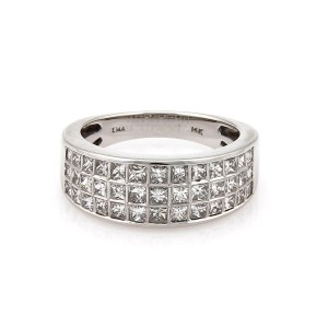 Other 14k White Gold 2.00 Carat Princess Cut Diamond 8mm Wide Band Ring