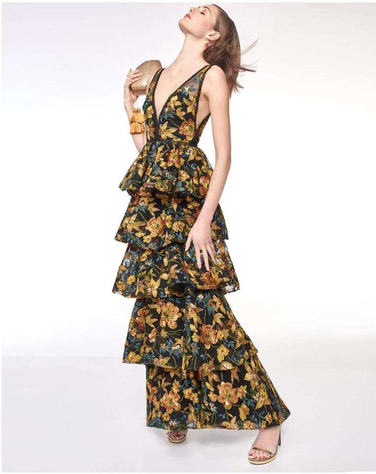 4dc42a4161b1 Marchesa Notte Embroidered V-neck Gown Tiered Sleeveless Dress Image 0 ...