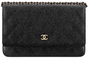 Chanel Wallet On A Chain WOC Quilted Lambskin CC Flap Crossbody Bag Caviar