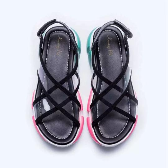 Knowlesandcompany black and transparent top with multi color sole. Sandals Image 4