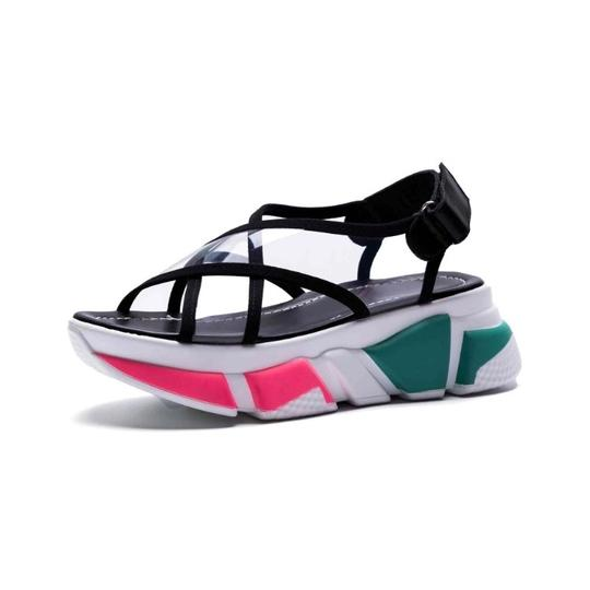 Knowlesandcompany black and transparent top with multi color sole. Sandals Image 5