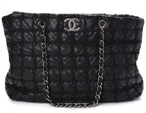 Chanel Gst Grand Shopping Classic Flap Tweed Double Stitch Tote in Black