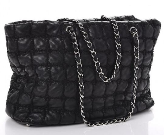 Chanel Gst Grand Shopping Classic Flap Tweed Double Stitch Tote in Black Image 1