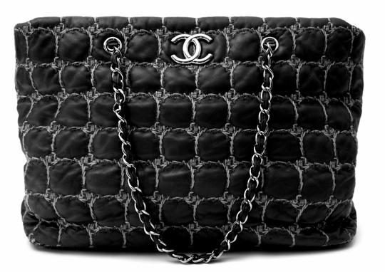 Chanel Gst Grand Shopping Classic Flap Tweed Double Stitch Tote in Black Image 11